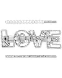 Guess 3-pc. Silver-tone Pavé & Imitation Pearl Love Bobby Pin Set - Metallic