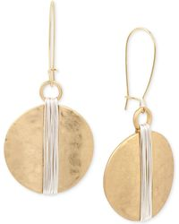 Robert Lee Morris Two-tone Wire Wrapped Hammered Disc Drop Earrings - Multicolour