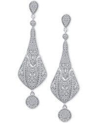 Macy's - Diamond Fancy Drop Earrings (3/8 Ct. T.w.) In Sterling Silver - Lyst
