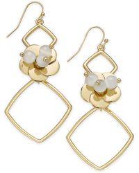 INC International Concepts - I.n.c. Gold-tone Flower Geo Drop Earrings, Created For Macy's - Lyst