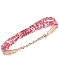 Macy's Certified Ruby (5 Ct. T.w.) & White Topaz (1/2 Ct. T.w.) Bracelet In 14k Rose Gold-plated Sterling Silver - Pink