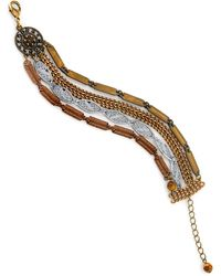 1928 T.r.u. By Vintage-like Chain Bracelet Accented With Semi-precious Tiger's Eye - Metallic