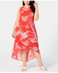 Plus Size Printed High-low Maxi Dress, Created For Macy\'s