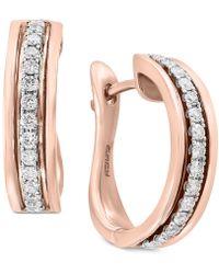 Effy Collection - Pavé Rose By Effy® Diamond Hoop Earrings (1/3 Ct. T.w.) In 14k Rose Gold - Lyst