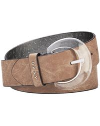 DKNY Crinkle-texture Belt With Lucite Buckle - Metallic