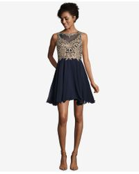 Xscape - Embroidered Cutout Fit & Flare Dress - Lyst