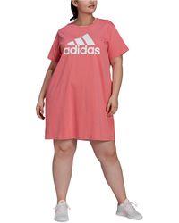 adidas Plus Size Cotton Badge Of Sports T-shirt Dress - Pink