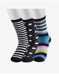 Kate Spade Rose Dot Home Socks, 3 Pair - Blue