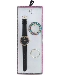 INC International Concepts - Black Faux Leather Strap Watch 38mm With Interchangeable Bezel, Created For Macy's - Lyst