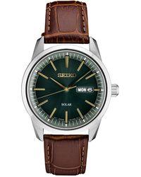 Seiko Solar Essentials Brown Leather Strap Watch 40mm