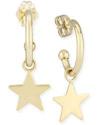 Macy's Dangle Star Hoop Earrings In 14k Yellow Gold - Metallic