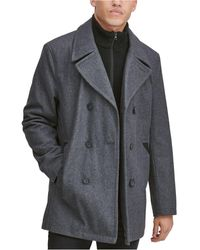 Marc New York Burnett Double Breasted Peacoat With Inset Knit Bib - Gray