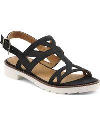 Adrienne Vittadini Seka Strippy Flat Sandal - Black