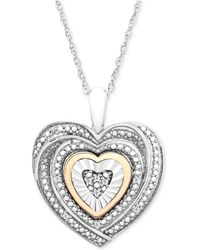 Macy's | Diamond Accent Two-tone Heart Pendant Necklace In Sterling Silver And 10k Gold | Lyst
