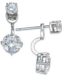 Danori - Silver-tone Double Crystal Front Back Earrings - Lyst