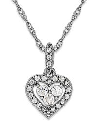Macy's - Diamond Heart Halo Pendant Necklace In 14k White Gold (1/6 Ct. T.w.) - Lyst