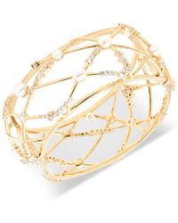 Carolee - Gold-tone Crystal & Freshwater Pearl (5-6mm) Openwork Cuff Bracelet - Lyst