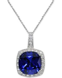 """Giani Bernini - Cubic Zirconia Halo 18"""" Pendant Necklace In Sterling Silver, Created For Macy's - Lyst"""