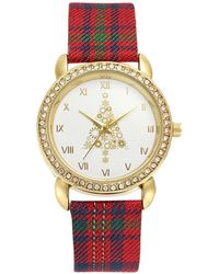 Charter Club Holiday Lane Holiday Tree Plaid Strap Watch 36mm, Created For Macy's - Metallic