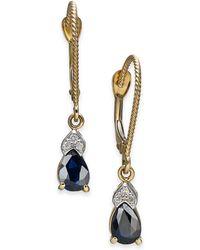 Macy's - Sapphire (1 Ct. T.w.) & Diamond Accent Drop Earrings In 14k Gold - Lyst