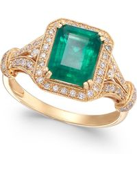 Effy Collection Emerald (2-1/5 Ct. T.w.) And Diamond (1/3 Ct. T.w.) Ring In 14k Gold - Green