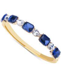 Charter Club Gold-tone Crystal & Stone Bangle Bracelet, Created For Macy's - Blue