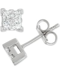 Macy's - Diamond Princess Stud Earrings (1/2 Ct. T.w.) In 14k White Gold - Lyst