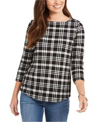 Charter Club Cotton Plaid 3/4-sleeve Top, Created For Macy's - Black