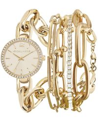 Kendall + Kylie Dainty Gold Tone Chain Link Stainless Steel Strap Analog Watch And Layered Bracelet Set 40mm - Metallic