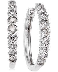 Macy's - Diamond Hoop Earrings (1 Ct. T.w.) In 14k White Gold - Lyst
