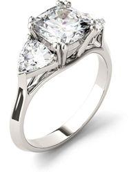 Charles & Colvard Moissanite Three Stone Ring 3 Ct. T.w. Diamond Equivalent In 14k White Gold - Metallic