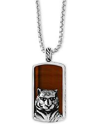 Effy Collection - Men's Tiger-eye (35-1/2 X 19mm) Tiger Pendant Necklace In Sterling Silver And Black Rhodium - Lyst