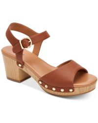 Style & Co. Anddreas Platform Block-heel Sandals, Created For Macy's - Brown