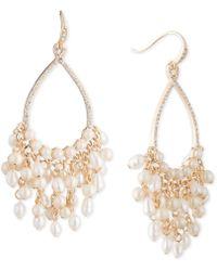 """Carolee - Gold-tone Crystal & Imitation Pearl 2 1/2"""" Drop Hoop Earrings - Lyst"""