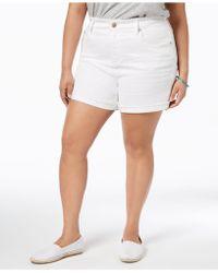 Seven7 - Trendy Plus Size Frayed White Denim Shorts - Lyst