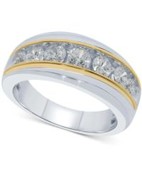 Macy's - Diamond Two-tone Ring (1-1/2 Ct. T.w.) In 10k White And Yellow Gold - Lyst