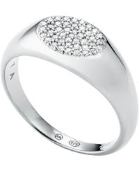 Michael Kors - Sterling Silver Pave Signet Ring - Lyst