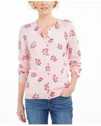 Karen Scott Floral-print Cardigan, Created For Macy's - Pink