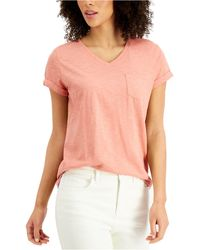 Style & Co. Petite Burnout V-neck T-shirt, Created For Macy's - Pink