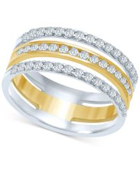 Macy's Diamond Triple Row Stack-look Ring (1/2 Ct. T.w.) In 14k Gold & White Gold - Metallic