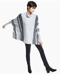 Alfani Striped Turtleneck Poncho Sweater, Created For Macy's - Grey
