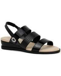 Karen Scott Xeena Three-strap Slingback Sandals, Created For Macy's - Black