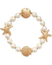 Charter Club - Gold-tone Imitation Pearl Sea Motif Stretch Bracelet - Lyst