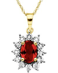 Macy's - 10k Gold Necklace, Ruby (1-1/8 Ct. T.w.) And Diamond Accent Pendant - Lyst