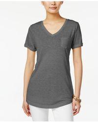 Style & Co. Petite Burnout V-neck T-shirt - Black