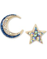 Betsey Johnson - Celestial Moon And Star Mismatch Earring Set - Lyst