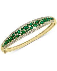 Effy Collection - Effy® Emerald (4-1/3 Ct. T.w.) & Diamond (1/5 Ct. T.w.) Bangle Bracelet In 14k Gold - Lyst