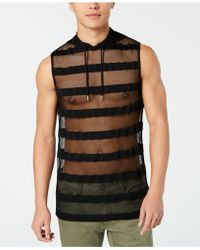 INC International Concepts Hooded Striped Mesh Tank, Created For Macy's - Black