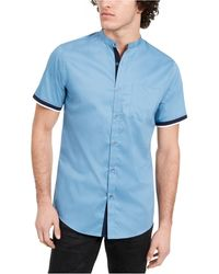 INC International Concepts New LT Blue Band Collar Textured Cotton Shirt Size L