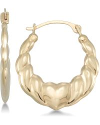 Macy's - Swirl Heart Hoop Earrings In 10k Gold - Lyst